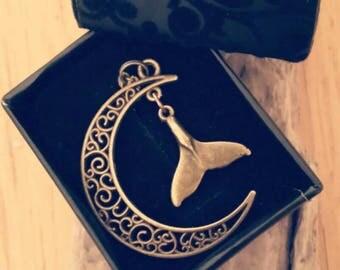 Crescent Moon Necklace with Whale Tail / Filigree Moon / Bronze on Chain / Unusual / Mermaid / Nautical / Sea Treasure / Handmade / Unique