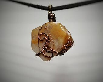 Yellow Jasper Pendant - Wire Wrapped Jewelry - Yellow and Cream Opaque Stone - Custom Handmade Necklace