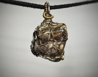 Turritella Agate Pendant - Wire Wrapped Jewelry - Snail Shell Fossils set in Black White and Brown Crystal - Unique Handmade Necklace