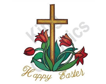 Happy Easter - Machine Embroidery Design, Easter, Cross
