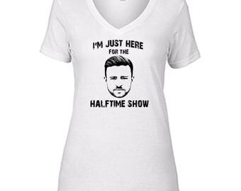 Justin Timberlake I'm Just Here For The Halftime Show T Shirt Ladies Semi-Fitted V-Neck Halftime White Tee
