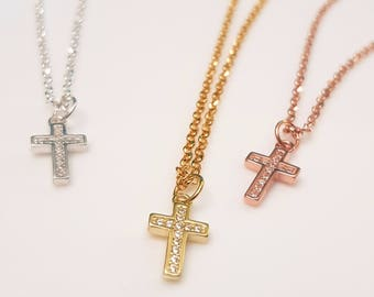Cross Necklace Cz 925 Sterling Silver Yellow Rose Gold Crystal Cross Layering Necklace Dainty necklace Minimalist jewelry Slim Cross G.P.