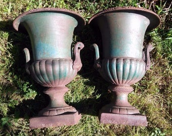 Antique Old Cast Iron Pair Of 2 Two Urns Garden Pots Architectural Salvage  Vases