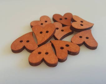 10 x Wooden Heart Shaped 2 Hole Buttons | Sewing | Scrapbooking | Card Making | Natural Wooden Hearts