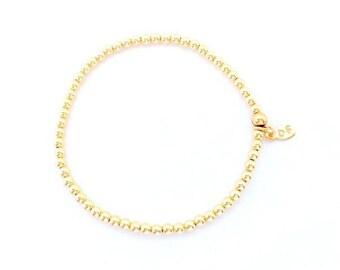 3mm beaded bracelet in gold