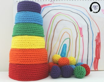 Rainbow crochet Nesting Bowls and Sorting balls, Waldorf and Montessori colour matching baby toy, Stacking toy, Nesting toy