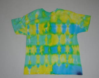 Tie Dye T-Shirt - Blue Yellow Green Blocks