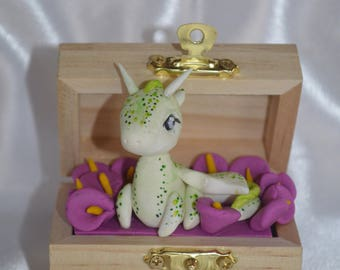Wooden chest with polymer clay Dragon