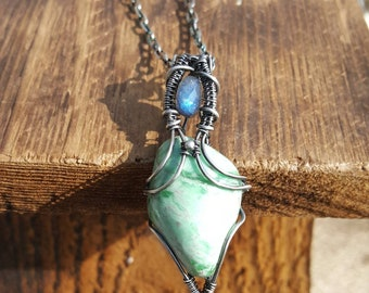 Sterling Silver and Variscite Pendant Necklace