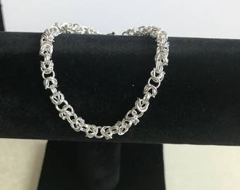 Byzantine Chainmaille sterling silver bracelet