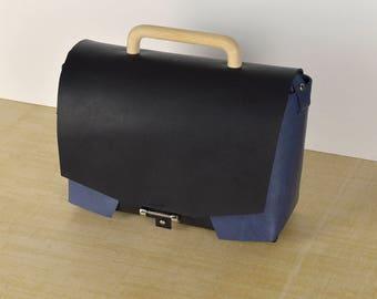 Leather Bag // Leather Handbag // Leather crossbody bag. Handbag. Black-Blue. Shoulder bag.