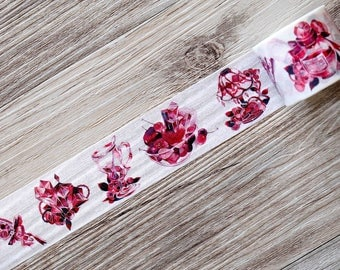 Red and Black Washi Tape,rose washi tape,crystal washi tape,japanese washi tape