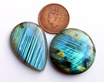 2pcs 162cts. 37x37mm 100% natural beautiful multi fire quality labradorite Cabochon smooth hand polish jewelry making gemstone  SKU00191