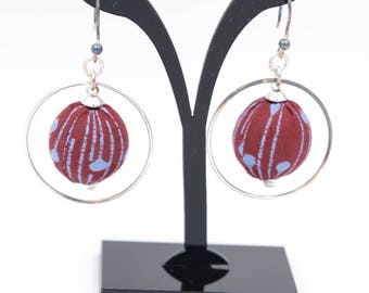 Burgundy and blue wax fabric earrings, 925 sterling silver