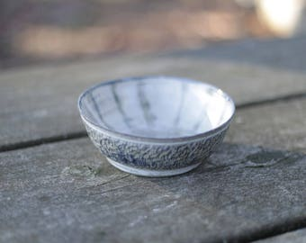 Blue and White Textured Bowl