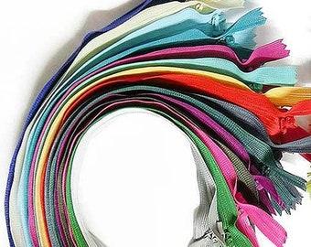 "12, 24, 36, 48, 50 zip zips Top quality 16"" / 40cm invisible hidden zipper discounted assorted colors bulk pack wholesale"