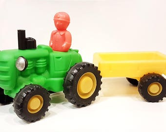Vintage USSR Polyethylene Toy Tractor with Trailer and Driver 1970's