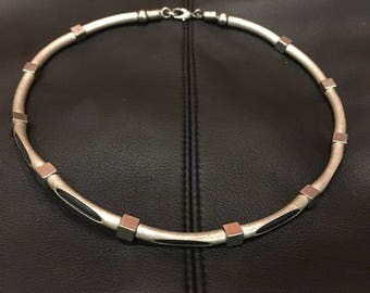 Black Leather with Stainless Steel Choker