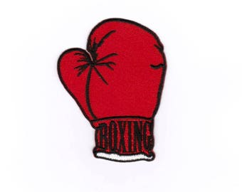 Boxing Gloves Iron on Sew on Embroidered Badge Applique Motif Patch