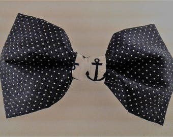 Dotted Navy Anchor Bow