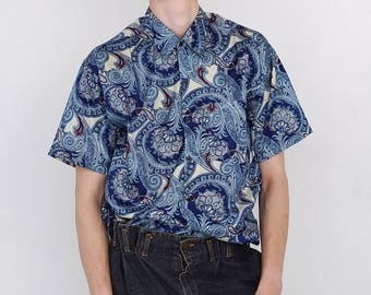 VINTAGE Blue Short Sleeve Button Downs Retro Shirt