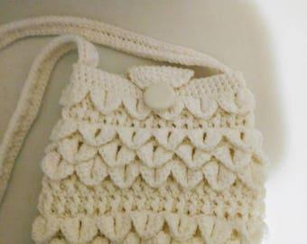 Winter white Crocodile purse