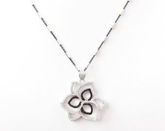 Sparkling Sterling Silver beautiful flower pendant  inlaid with clear and black cubic zircon crystals CZ, and Sterling Silver necklace