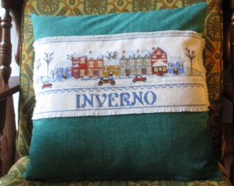 """Cushion cover is made to cross stitch """"Winter"""" 2. Perfect as a Christmas present!"""