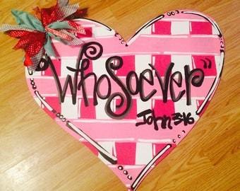 Heart door hanger, valentine door hanger, valentine