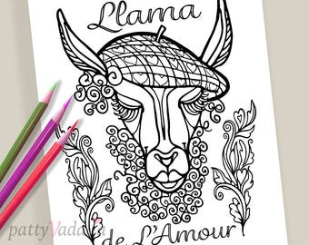 Llama. Valentine. Coloring. Coloring Page. Coloring Pages for Kids and Adults. Adult Coloring Pages. Printables. Instant Download.