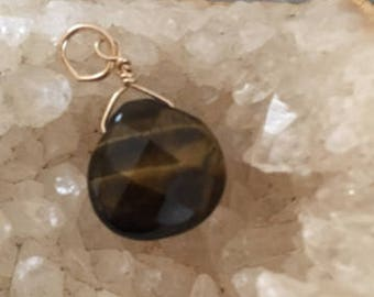 Tiger Eye 24mm dangle, ,gold fill, Xmas gift,affordable jewelry, brown dangle, tiger eye pendant, affordable jewelry, gold fill tiger eye