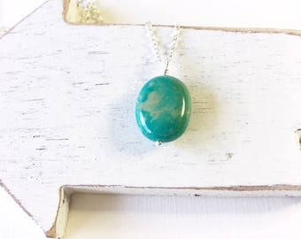 Sterling Silver turquoise necklace,  birthday present for her,everyday necklace, simple necklace,turquoise dangle,December birthstone,