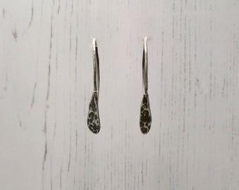 Fine Silver Hammered Drop Earrings