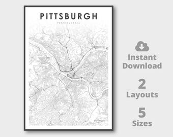 Pittsburgh Map Etsy - Pennsylvania printable map