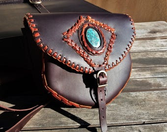 Leather Fanny pack with Azurite Stone