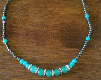 Turquoise Glass Beaded Necklace with Copper Accents