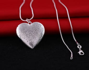 925 Silver Locket Pendant Necklace Photo