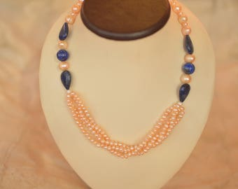 "Necklace with pink pearls and lapis ""Venice"""