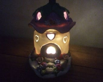Polymer clay fairyhouse and garden tealight/nightlight