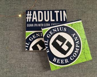 Craft Beer Coasters, Set of 2, Beer Coasters Sets,  Ceramic Tile Coasters, Beer Gifts, Drink Coasters, Groomsmen Gifts