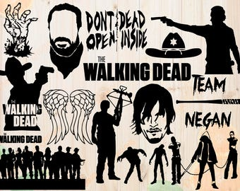 Walking Dead Svg, The Walking dead Cut file, Rick grimes, Negan, Daryl Silhouette Svg, Dxf files, Eps, Zombie Svg for Cricut, Silhouette