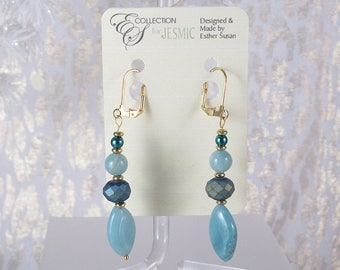"""Semi-precious Oval Stones. Multi-faceted Iridescent Accents. 2.75"""" Long. Gold Finish Lever Back Hooks"""