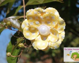 Yellow & White Flower Hair Clip // Hair Accessory // Hair Bow // Flower Bow // Flower Barrette // Fancy Bow