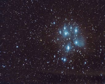 Pleiades - The Seven Sisters - Deep Sky Photography, Constellation Picture, Stars,, Night Sky Photography, Space, Cosmos, Wall Art, Decor