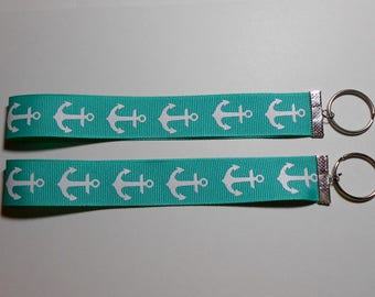 Aqua Green with White Anchors Ribbon Keyrings