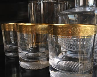 set of 4, Crystal Whiskey Glasses with Gold Rim, tumblers THERESIENTHAL Mintonborde, Mid Century Barware, Bar Cart