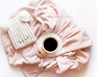 Styled Stock Photography / Blanket / Coffee cup / Warm Winter / Soft pink / Feminine workspace / Flatlay / Digital image