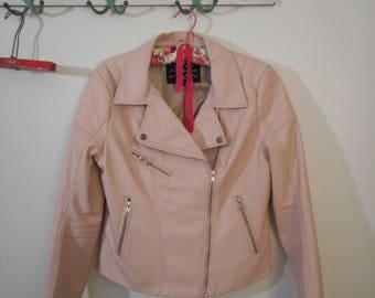 Shinestar Pink Faux Leather Women's Jacket sz LG.