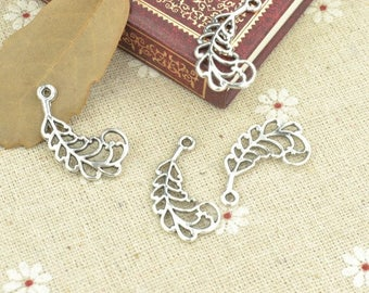 Tree leaf charms, 30 pcs charms, Tibetan silver charms, Alloy charms, Metal charms, Jewelry findings, Jewelry making, 28 mm x 19 mm, A171
