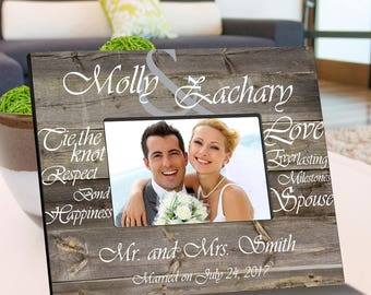 Personalized Tying The Knot Wooden Picture Frame - Wedding Photo Frames - Anniversary Picture Frames - Wooden Picture Frame - Wedding Gifts